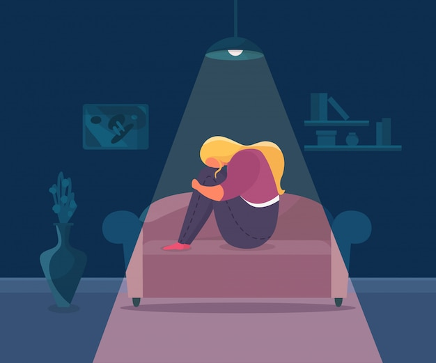 Loneliness Depressed Girl Illustration Woman Sad Character Alone And Stress At Home Unhappy Person With Upset Emotion Premium Vector