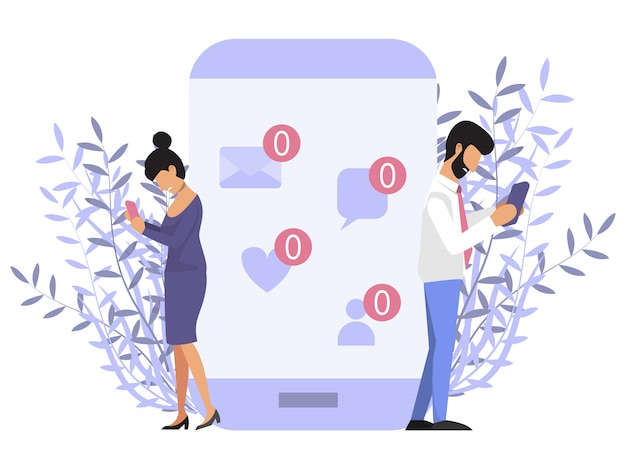 Loneliness with phone. people near mobile phone with no message sign. sad man and woman holding mobile phone with no message sign Premium Vector