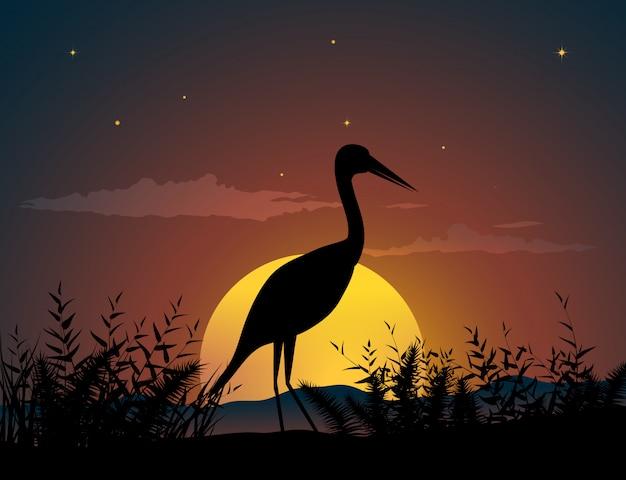 Lonely bird in sunset Premium Vector