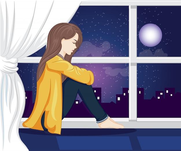 외로운 소녀 밤 그림에서 창 밖을 봐 프리미엄 벡터