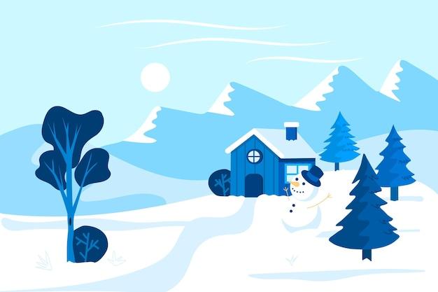 冬の孤独な家 無料ベクター