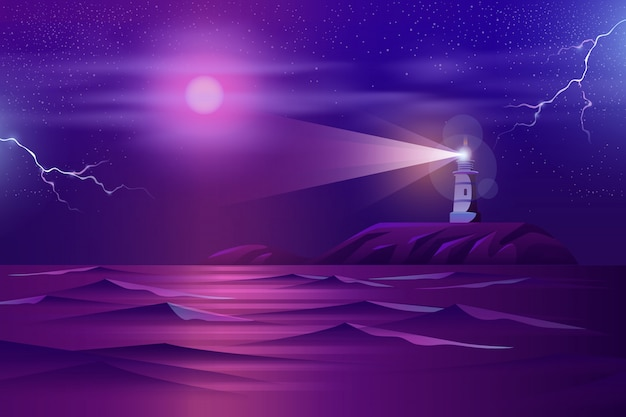 Lonely lighthouse on rocky cliff cartoon Free Vector