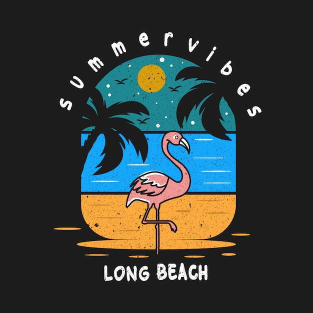 Long beach summer vibes design illustration Premium Vector
