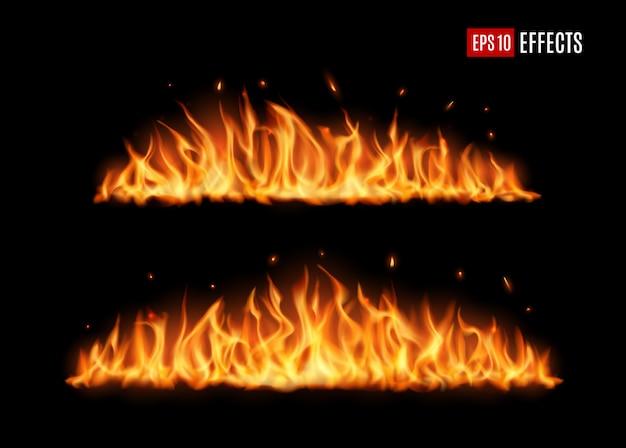 長く燃える火の舌、現実的なベクトルの炎 Premiumベクター