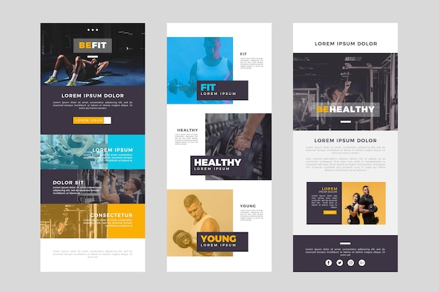 Long fitness email template with photos Free Vector