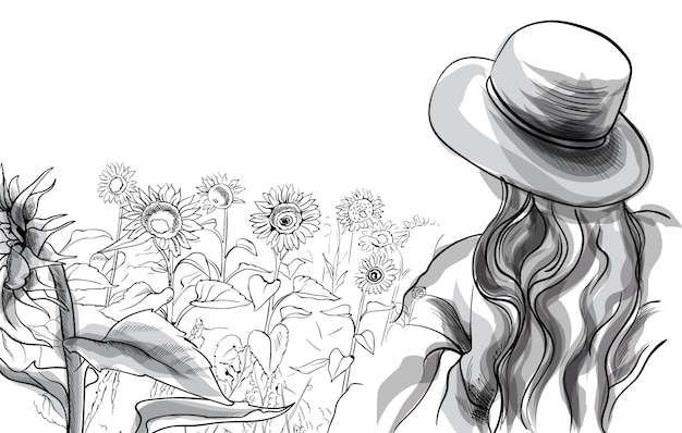 ひまわり畑に立っている帽子とブラウスの長い髪の少女。線画 Premiumベクター