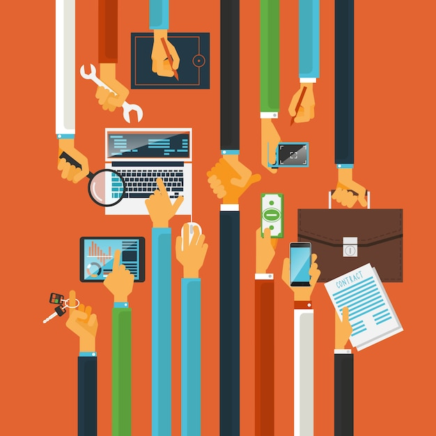 Long hands production process concept Free Vector
