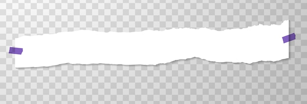 Long horizontal torned off piece of paper with purple stickers. Free Vector