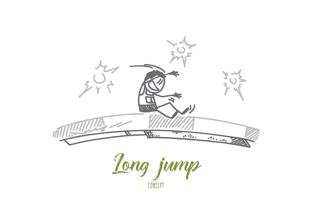 Иллюстрация концепции прыжка в длину Premium векторы