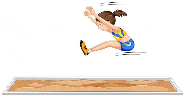 La ragazza di salto in lungo che salta nell'evento sportivo Vettore gratuito