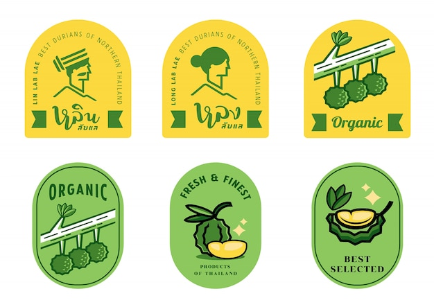 Long and lin durian label  set Premium Vector