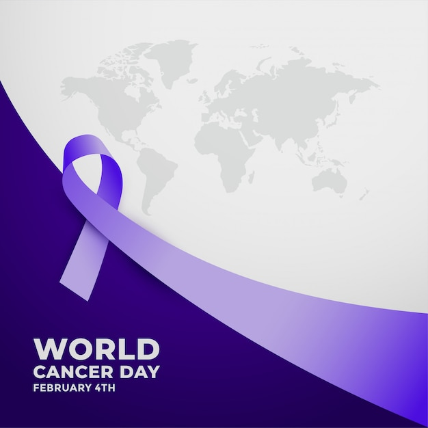 Long purple ribbfor world cancer day Free Vector