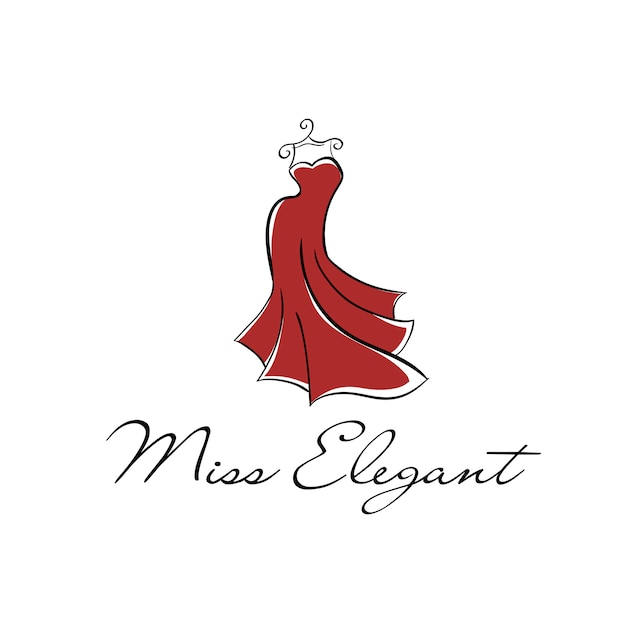 Long red dress on a hanger logo Premium Vector