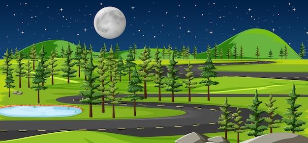 Lunga strada nel paesaggio naturale di scena notturna Vettore gratuito