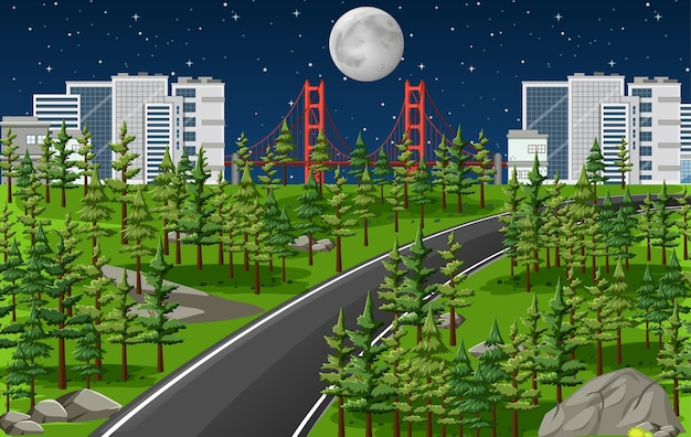 Long road in nature landscape at night scene Free Vector