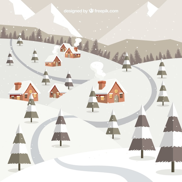 Long road winter background Free Vector