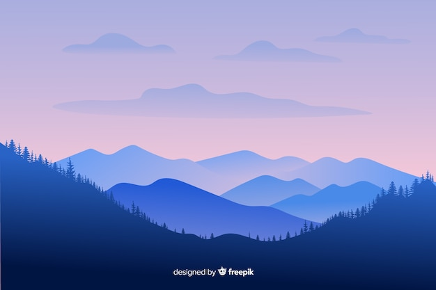 Long shot mountains landscape Free Vector