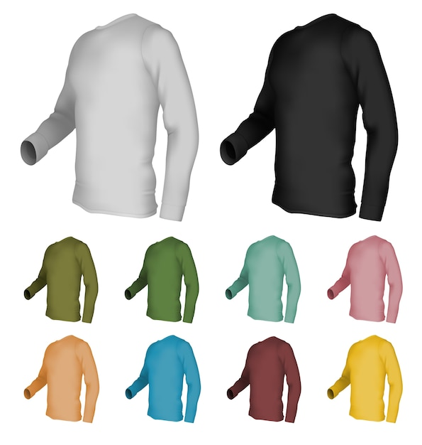 Long Sleeve Blank T Shirt Template Premium Vector