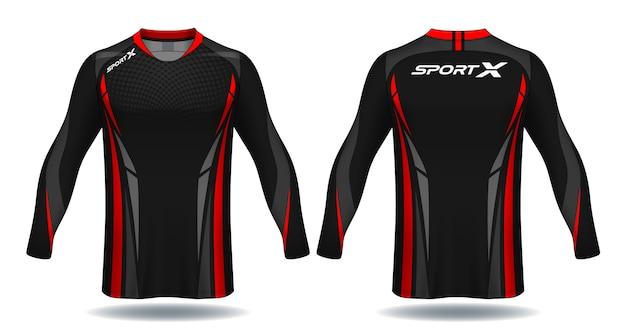 Long Sleeve Soccer Jersey Templatesport T Shirt Design Vector