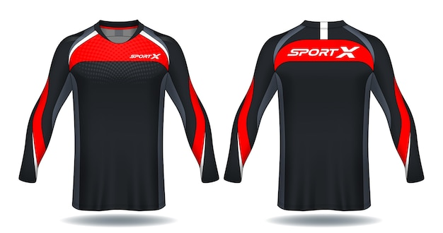 Long sleeve soccer jersey template.sport t-shirt design. Premium Vector