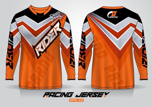 Long sleeve t-shirt design. motor racing uniform front and back view. Premium Vector
