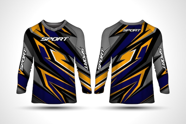 Long sleeve t-shirt design template, racing sport motorcycle jersey Premium Vector