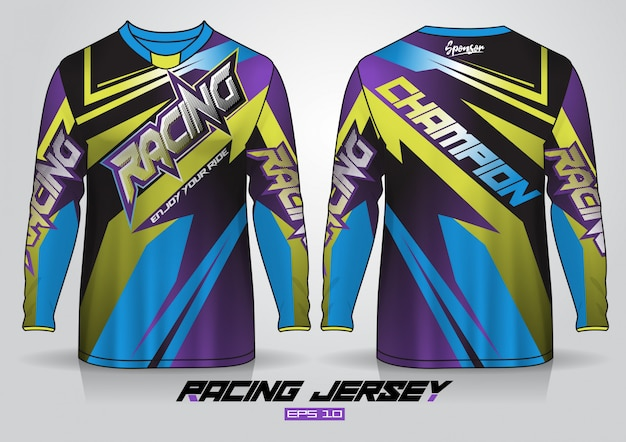 Long sleeve t-shirt design template, uniform front and back view. vector Premium Vector