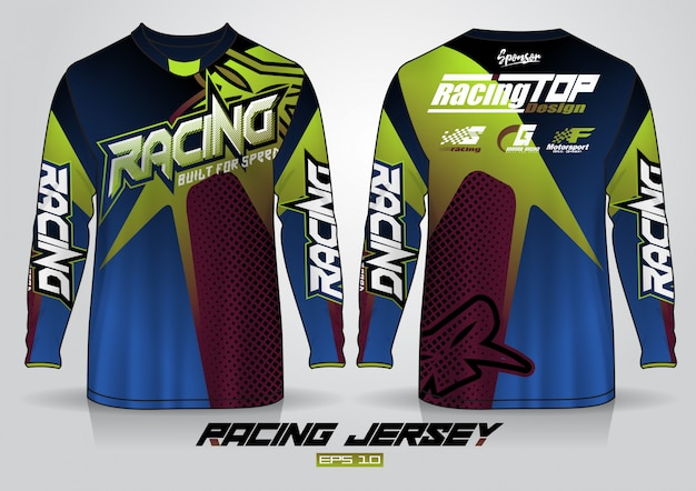 Long sleeve t-shirt design template, uniform front and back view Premium Vector