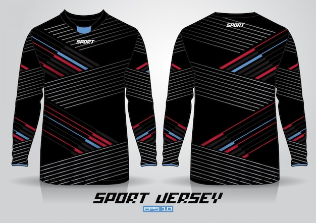 Long sleeve t-shirt design template, uniform front and back view. Premium Vector