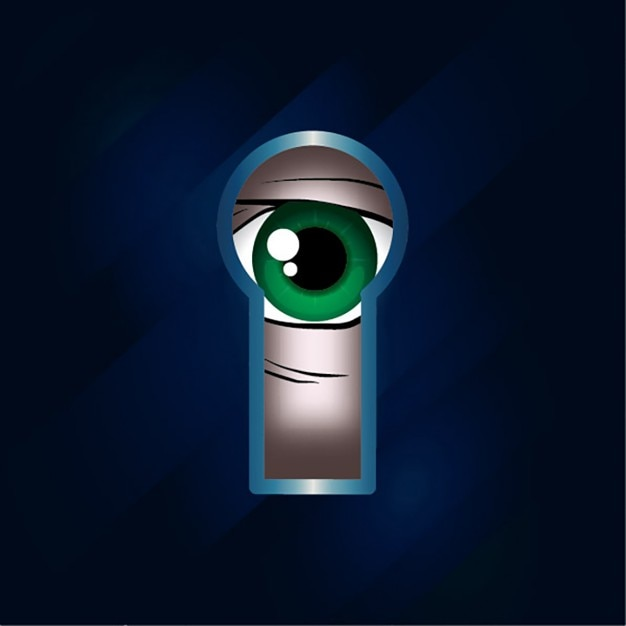 Look through the keyhole Free Vector