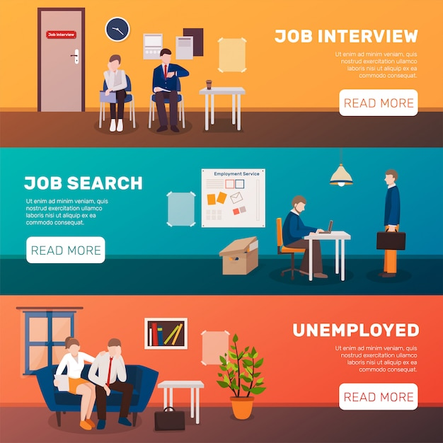 Looking for job banners Free Vector