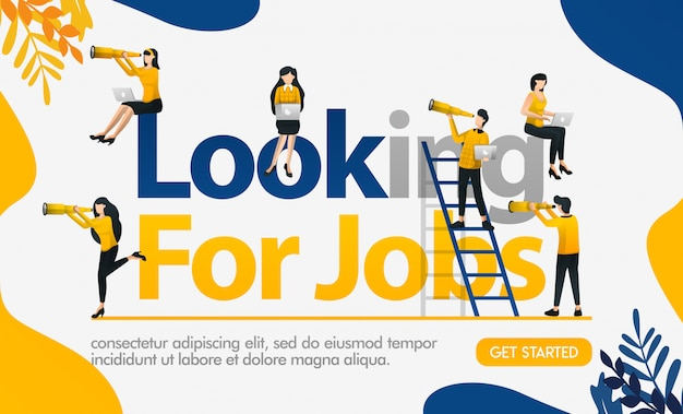 Looking for jobs poster with illustrations of everyone seeing binoculars Premium Vector
