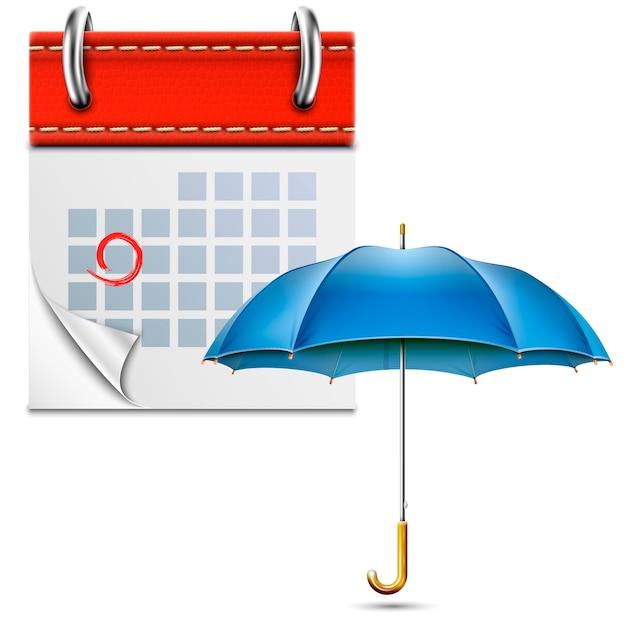 Loose leaf calendar with open umbrella Premium Vector