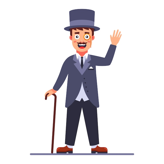 Lord in the cylinder and a cane in his hand. 19th century english dandy. flat character vector illustration. Premium Vector