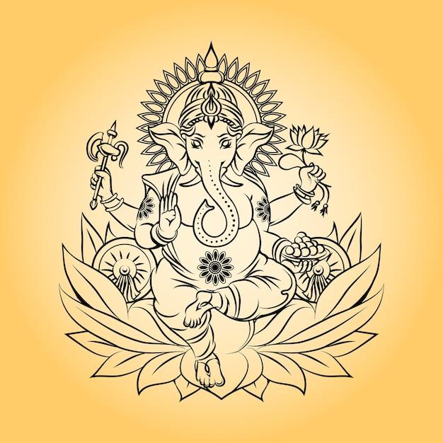 Лорд ганеша индийский бог со слоновой головой. индуизм и животное, корона и лотос. Бесплатные векторы