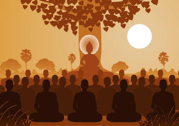 僧侶の群衆を仲介する仏陀の主 Premiumベクター