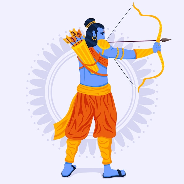 Lord rama being confident with golden bow Free Vector