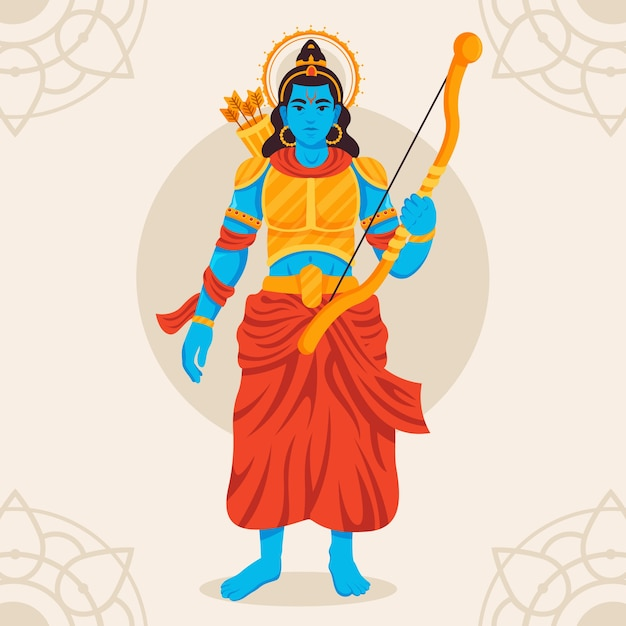 Lord rama holding a bow in hand Free Vector