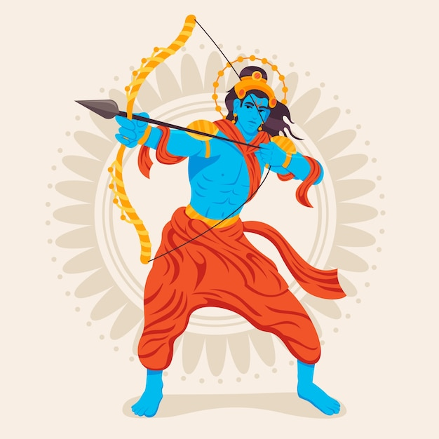 Lord rama holding a golden bow flat design Free Vector
