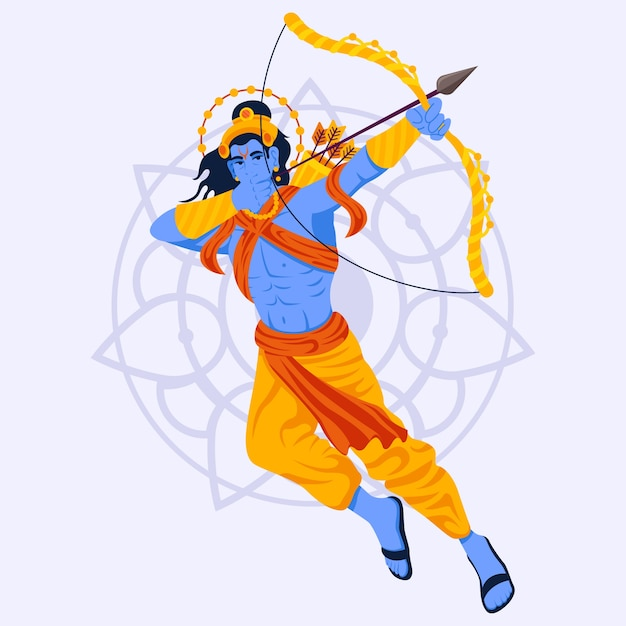 Lord rama jumping and using the bow Free Vector