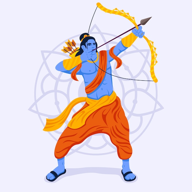 Lord rama pointing his bow in the sky Free Vector