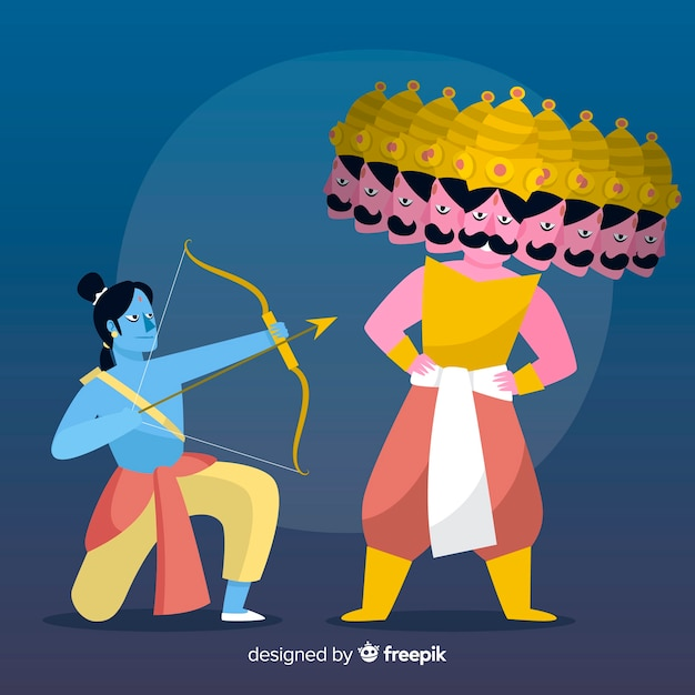Lord rama and ravana character background Free Vector