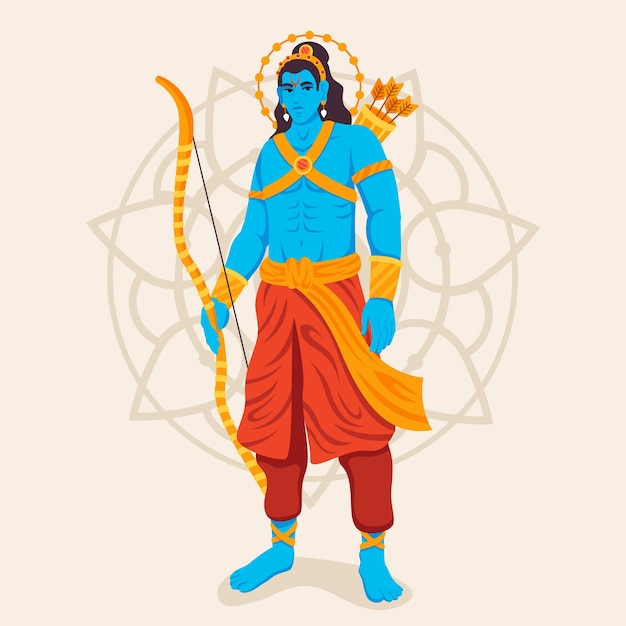 Lord rama standing with a bow in hand Free Vector