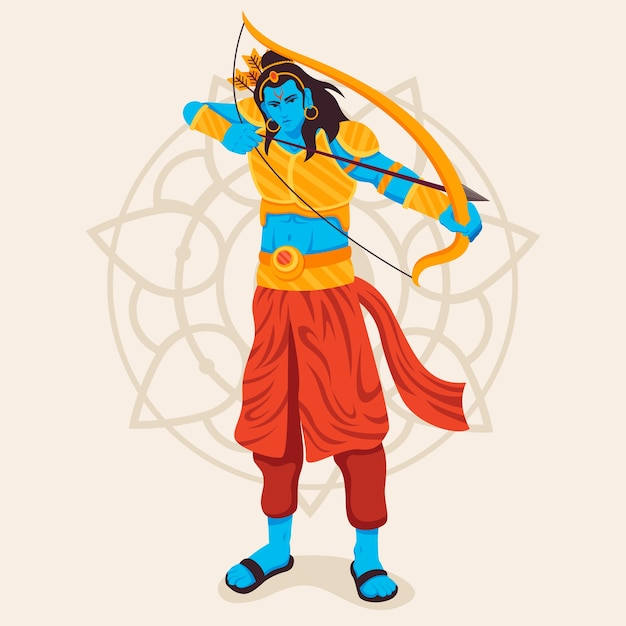 Lord rama using the golden bow and arrow Free Vector