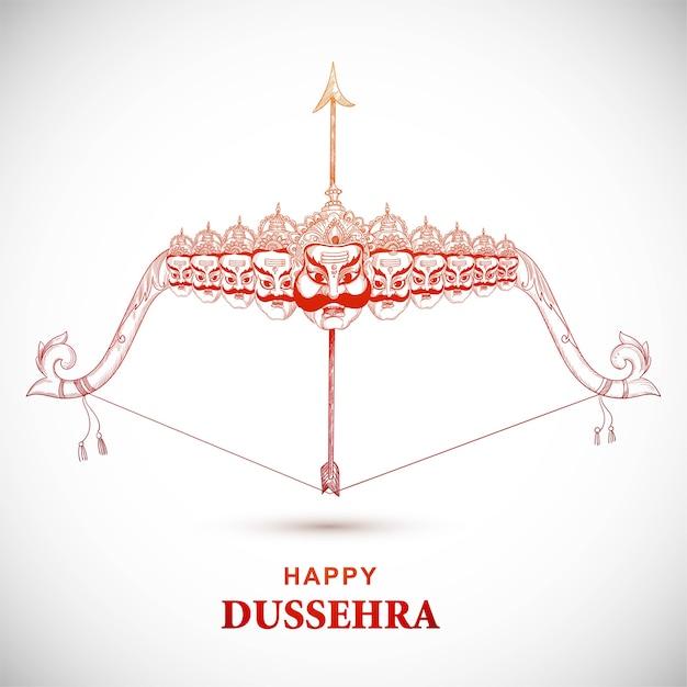 행복한 dussehra 스케치 디자인에서 라바를 죽이는 화살로 라마 경 무료 벡터