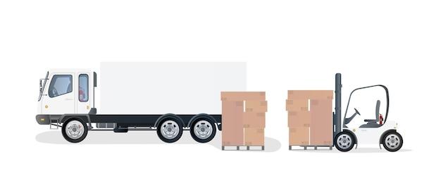 段ボール箱が付いているトラックおよびパレット。フォークリフトがパレットを持ち上げます。産業用フォークリフト。カートンボックス。 Premiumベクター