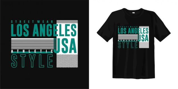 Лос-анджелес - уличная одежда, спортивный стиль, сша. стильный дизайн модной футболки для печати Premium векторы