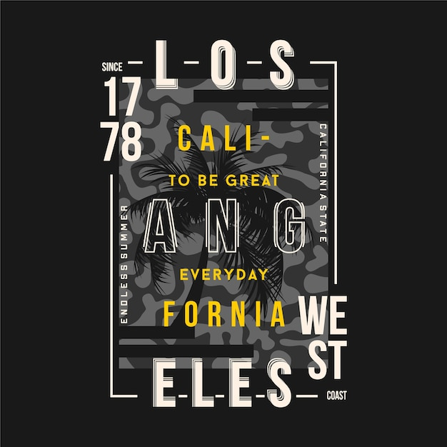 Los angeles text frame with camouflage background typography graphic t shirt Premium Vector