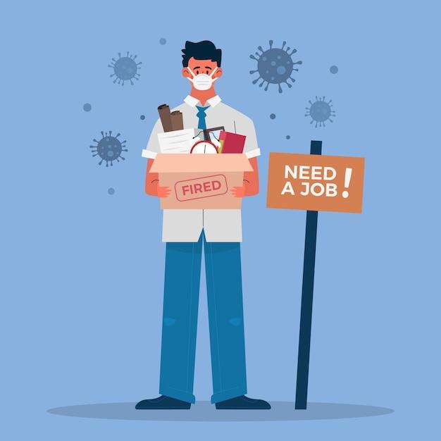 Потеря работы из-за коронавирусного кризиса Бесплатные векторы