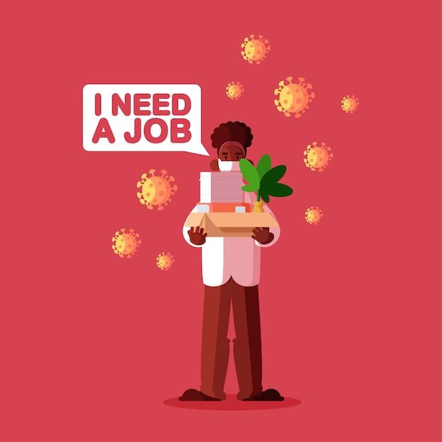コロナウイルス危機による失業 無料ベクター